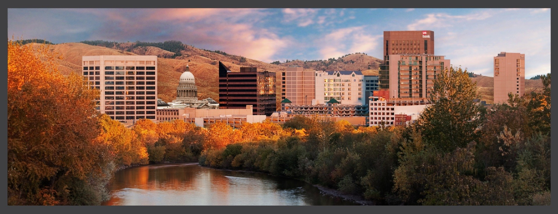 Scenic downtown Boise as seen from the river at sunset.