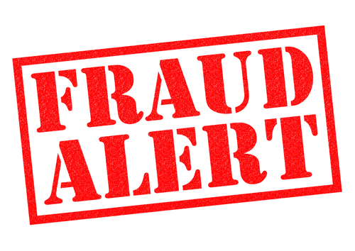 Graphic with big red words FRAUD ALERT