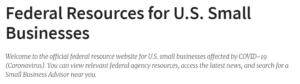 Federal resources for US Small Businesses